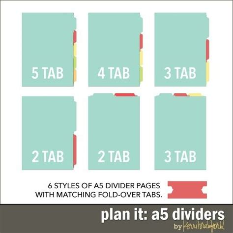 Plan It A5 Dividers Notebook Filofax Traveler Notebook Pinterest Planners A5 Planner Divider Template