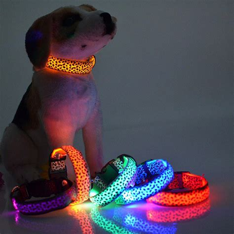 led collars pet led collar leopard pattern pet supplies safety glow