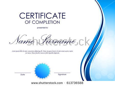 certificate completion template blue dynamic light stock