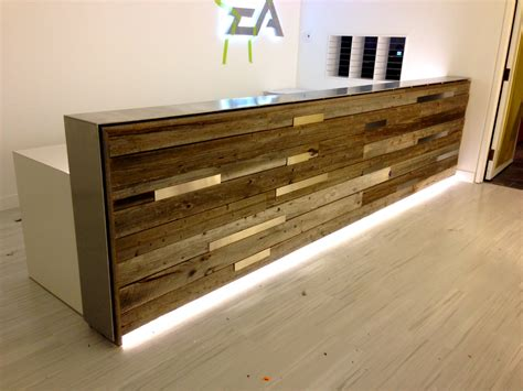 Reclaimed Wood Reception Desk Counters And Bar Top Antique Woods
