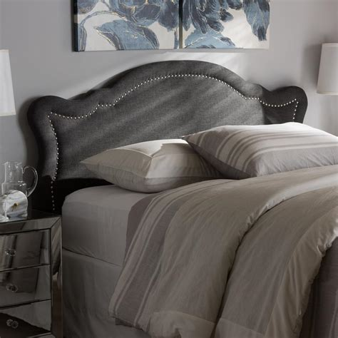 dark gray upholstered headboard baxton studio avery dark gray fabric upholstered full size