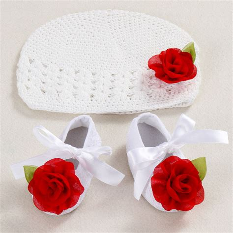 Handmade Boutique - flower baby shoes hat crochet photography props