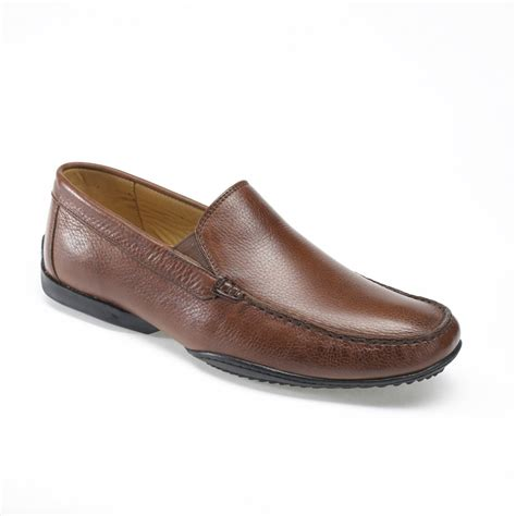 tavares 9414 brown leather slip on shoe