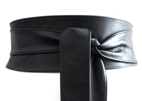 black obi belt leather belt waist tie belt leather by