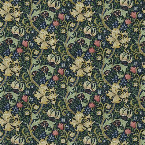 Lorient Decor Curtain Fabric Golden Lily Fabric Midnight Green Dmc1g3202 William