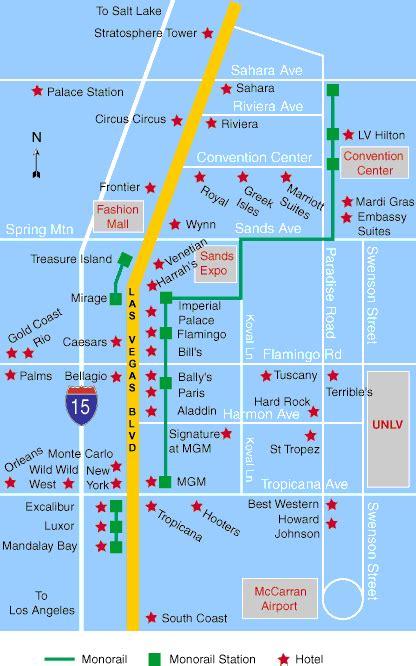 Las Vegas Tram Map by Las Vegas Hotels Map