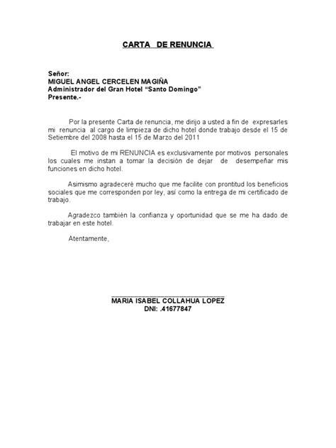 carta de renuncia trabajo doc carta notarial renuncia 2010