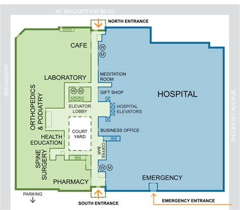 Maternity Hospital Floor Plan by Oakland Medical Center Campus Map Kaiser Permanente