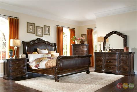 valencia bedroom set valencia traditional genuine leather upholstered sleigh