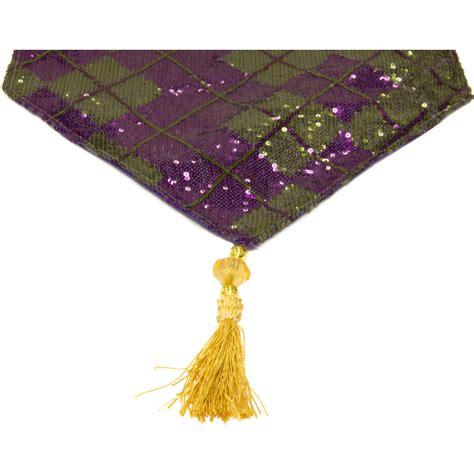 mardi gras table runner 72 quot mardi gras sequin argile table runner purple green
