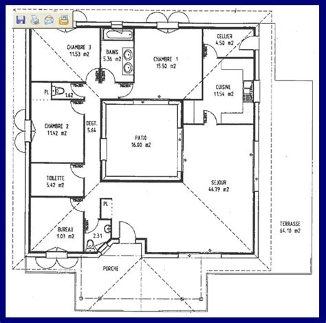 plan maison avec patio plan maison avec patio central