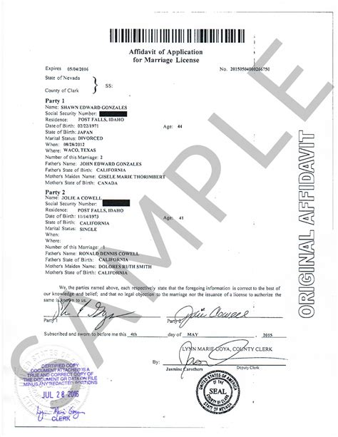 Reno Nevada Marriage Certificate Records Sle Certificates Nevada Document Retrieval Service