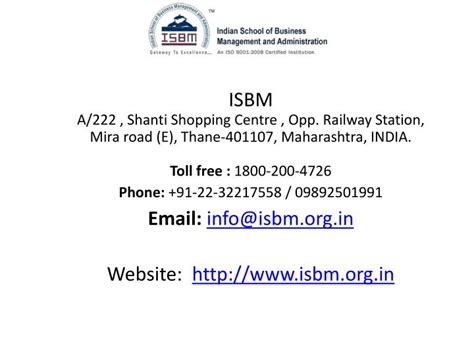 Value Of Mba Distance Learning by Ppt Value Of Isbm Mba Distance Learning Courses