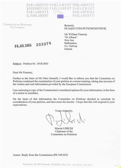 Petition Letter In Scanned Copies Of Petition Letter And Attachment From Eu Dated July 5th 2005