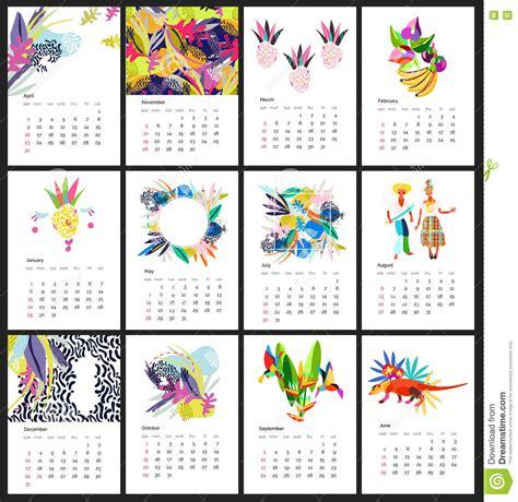 printable animal calendar 2017 calendar 2017 year simple animal style stock vector