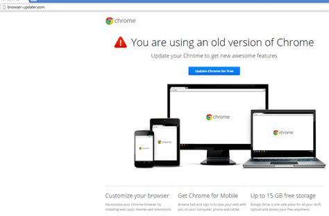 chrome old version your browser is out of date or is it malwarebytes