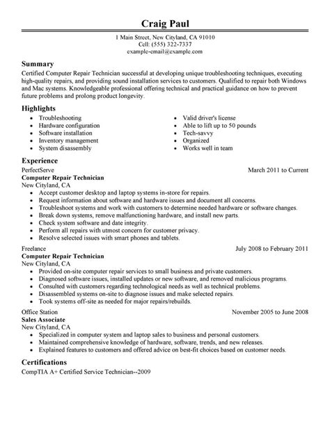 technology resume template best computer repair technician resume exle livecareer