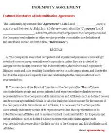 indemnification clause template indemnity agreement sle indemnity agreement template