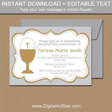 First Communion Invitation Template 1st Communion Invitation Gender Neutral Holy Communion Communion Invitation Templates