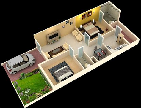 indian home design 2bhk foundation dezin decor 3d home plans sketch my