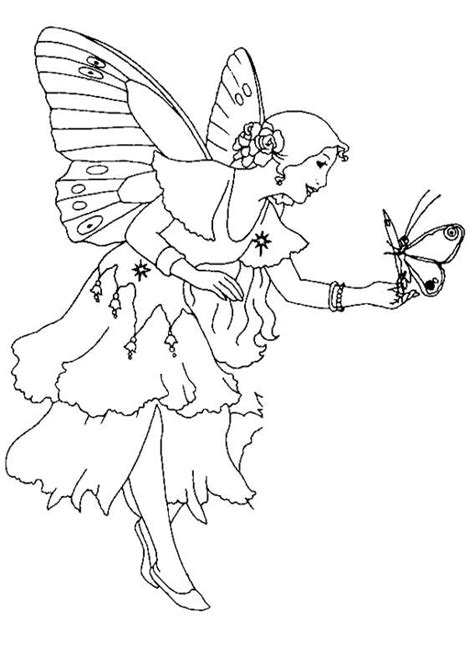 fairy and butterfly coloring page crafts needle crewel