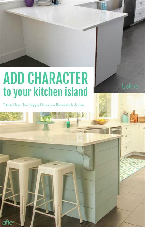 Inexpensive Kitchen Cabinet Makeovers - remodelaholic update a plain kitchen island or peninsula with planks and corbels