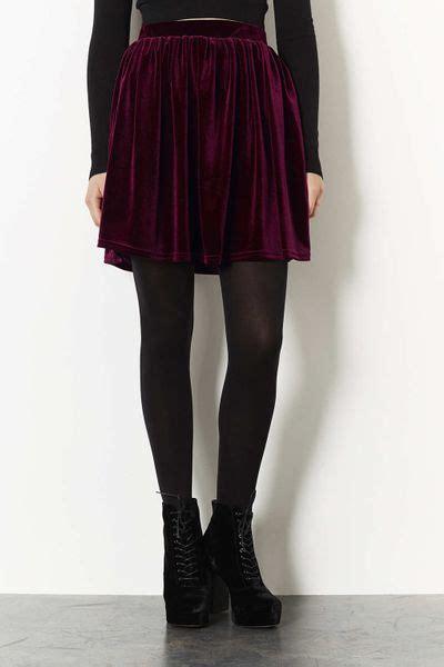 topshop burgundy velvet skater skirt in purple burgundy