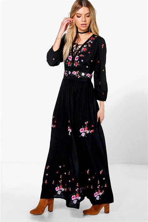 Embroidered Maxi Dress boutique embroidered maxi dress at boohoo