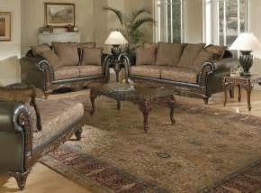 Tapestry Sofa Living Room Furniture Chenille Tapestry Traditional Living Room W Carved Wood Frame