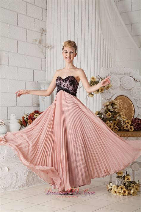Dress Sweet Two Color Mix Import Premium Quality pleated black lace prom homecoming dress chiffon