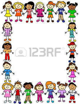 libro smileys people frame border kids frame or page border of cute kid cartoon characters holding hands gem
