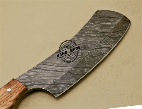 Handmade Butcher Knives - damascus cleaver butchers knife custom handmade damascus