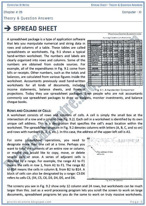 Spreadsheet Questions And Answers practical centre spreadsheet theory and questions