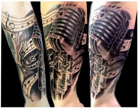 vintage microphone tattoo on arm by lucidpetroglyphs666