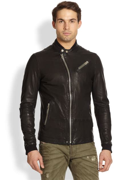 Diesel Leather Black 1 diesel lohar perforated leather jacket in black for lyst