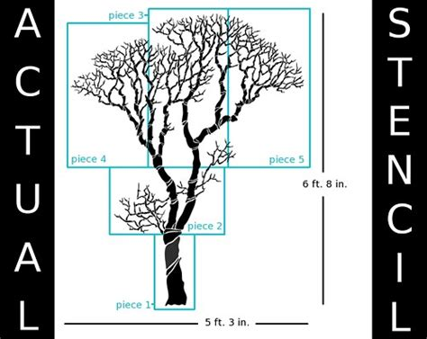 large tree template for wall wall stencil large winter tree 6 8 inches