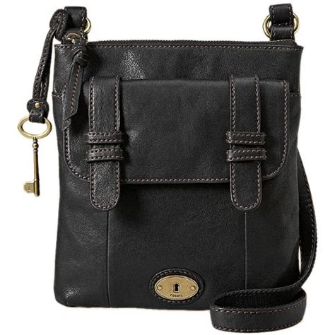 Styles Fossil Hardware Black Smooth Leather 1339 fossil carson black leather cross handbag fossil