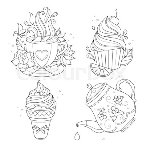 tea coloring pages tea cup with spoon drawing sketch coloring page