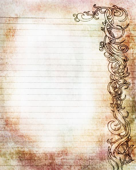 fashioned writing paper template printable and colored filigree lined journal page