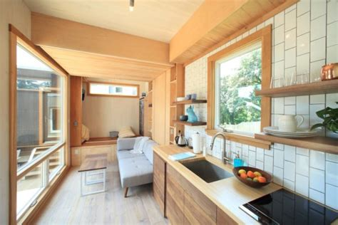 modern ft tiny house  secret ceiling bed  remote