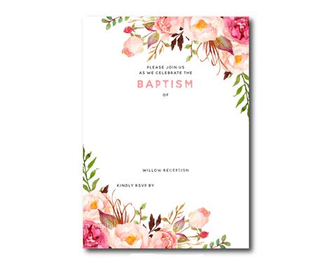 invitation cards templates free printable free printable baptism floral invitation template