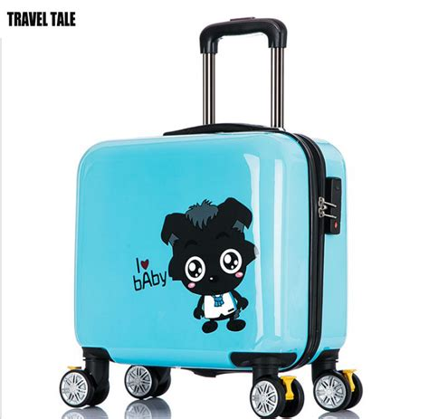 cute pattern luggage travel tale big wolf pattern blue cute suitcases kids