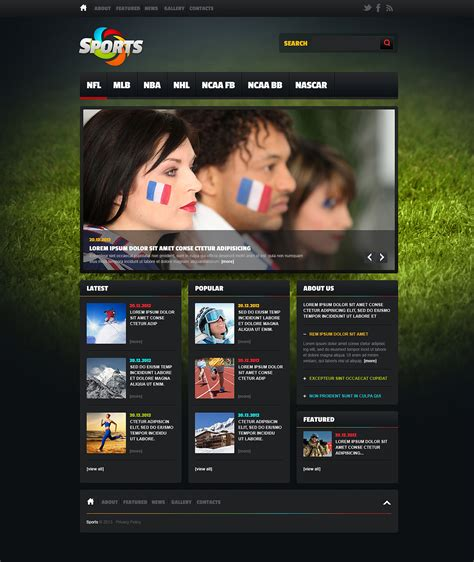 Sports News Website Template 46919 Free Sports Web Templates