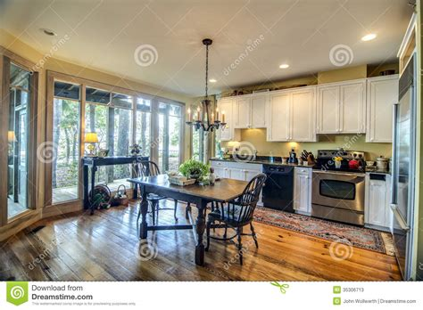 view larger kitchen with view windows stock image image of chairs