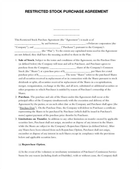 11 Stock Purchase Agreement Form Sles Free Sle Exle Format Download Restricted Stock Purchase Agreement Template