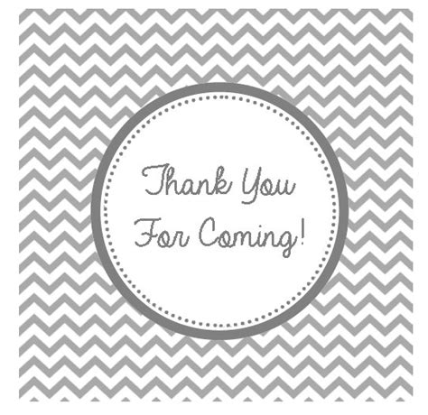 Grey Chevron Thank You For Coming Tag Gift Tag By Auntiessweetlife 5 00 Printables Thank You For Coming Tags Template