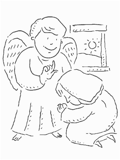 free coloring pages angel and mary fundacion conocenos