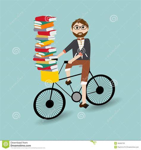 libros de bicicletas libros hombre del inconformista que monta la bicicleta ilustraci 243 n del vector imagen 48492723
