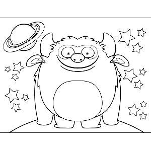 space monster coloring page grinning space monster coloring page