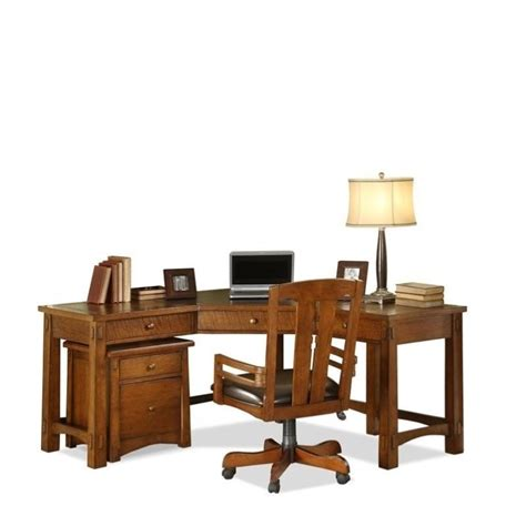 Oak Corner Computer Desks For Home Riverside Furniture Craftsman Home Corner Computer Desk In Oak 2930 2935 Kit
